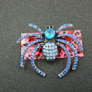 Betsey Johnson Cute Blue Crystal Long Legs Spider Charm Woman Brooch Pin