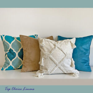 Mix & Match Home Sofa Pillow Turquoise/Aqua/Beige Embroidery Tuft Cushion Cover