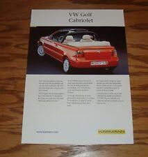 Original 1999 Karmann Volkswagen VW Golf Cabriolet Fact Sales Sheet Brochure 99