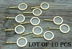 LOT OF 10 MINI READING GLASS BRASS MAGNIFYING GLASS PENDANT NECKLACE