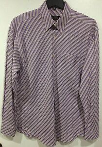 Bugatchi Uomo Long Sleeve Dress Shirt Men's Size XL Purple Stripe Modal Blend