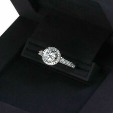 10K White Gold Halo Engagement Ring 1.50 Ct Round Cut Diamond Real