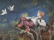 Projet éventail XIX peinture fan facher painting ventaglio oiseaux birds 44x28cm