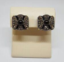 "Judith Jack Sterling Silver Marcasite & Onyx Clip Earrings ~ 3/4"""