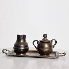 Los Castillo Coffee Tea Serving Set Silverplate  Malachite Azurite Stone Mexican