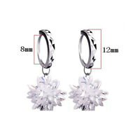 925 Sterling Silver Ice Crystal Flower Earrings Ear Hook For Fashion Women Gifts