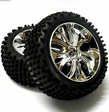 BS701-002A 1/10 Scale RC Buggy Off Road Wheels and Tyres FRONT Chrome 2