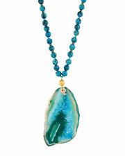 Panacea Blue Green Agate & Jasper Stone Pendant Necklace, New $68