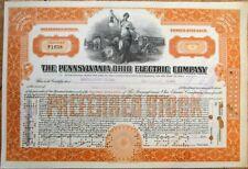 Pennsylvania-Ohio Electric Company 1922 Stock Certificate, Trolley/Tram Vignette
