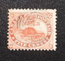 Canada #15 Rare 5c First Cents Beaver Vermilion 1859 Stamp