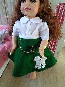 """White Blouse and Kitten Skirt Fits18"""" Vinyl Slim Dolls and American Girl Dolls"""