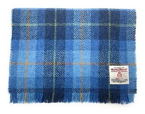 Harris Tweed Fringed Scarf Made in Scotland Blue Check