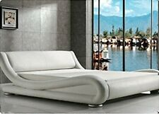 5ft Italian Designer Faux Leather King Size Mallorca Bed Frame In WHITE Color UK