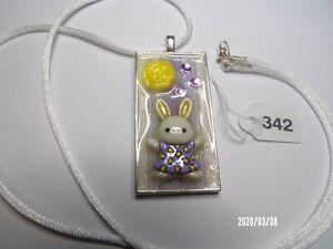 "Easter Bunny Pendant Necklace Purple w/26"" Satin Cord"