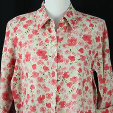$69 Liz Claiborne Womens L Large Linen 3/4 Sleeve Top Shirt Blouse Floral New
