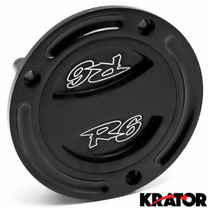 Black Keyless Gas Cap Twist Off Fuel Tank Cap For Yamaha YZF R6 Logo Engraved