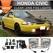 96-98 Honda Civic EK Clear Lens Fog Lights Lamps Kit