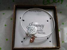 Unwritten Sterling Silver Compass & Rose Gold Heart Catch Bracelet  NWT $100