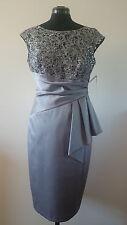 NEW ANTHEA CRAWFORD Grey Sequin Lace Satin Dress - Size AUS 10 (US6/UK10/EUR38)