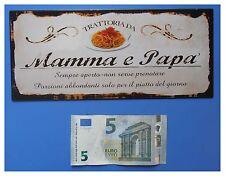 """Targa vintage """"Trattoria da mamma e papà"""", metallo, cm 25x11"""
