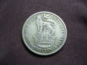 Great Britain, 1931, English Shilling, King George V, 50% Silver Coin.