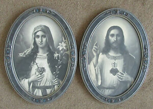 """Antique Jesus & Mary Sacred Heart Chalkware  Framed Pictures Approx 23""""x16.75"""""""
