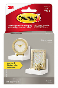 Command Display Ledges, Quartz, 2-Ledges, 8-Medium Foam Strips HOM23Q-2ES