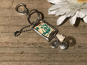 Recycled Broken Game Tile, Wood Mah Jongg Key Chain w/Metal Charms Glass Bead