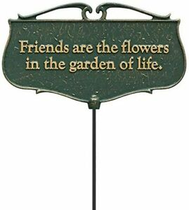 "Whitehall Products ""Friends are The Flowers..."" Garden Poem Sign, Green/Gold"