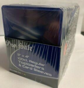 100 Pro Safe Regular 3x4 Toploaders + 100 soft sleeves New Top loaders STANDARD