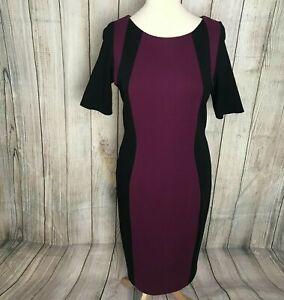 Fabulous Purple Black M&S Illusion Sheath Pencil Dress Size 16 VGC