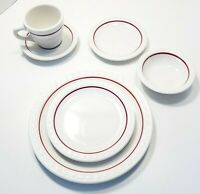 6pc setting SYRACUSE China Econo Rim Restaurant Ware Red Cardinal Line 1 or more