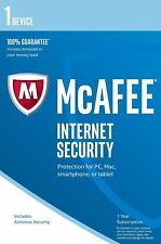 McAfee 2017 Internet Security Antivirus 1 Device 1 Year PC/Mac/Android
