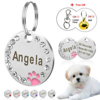 Dog ID Tags Personalized Cute Paw Tags Engraved Bling Rhinestone for Pet Cat Dog