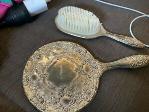 Nans 2pc Antique Embossed SILVERPLATED VANITY SET: MIRROR and BRUSH Undamaged