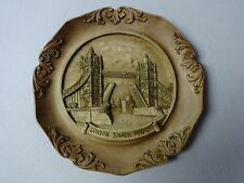 Vintage London Tower Bridge Carved Wooden Resin 3D Wall Plate Plaque G. Muraro