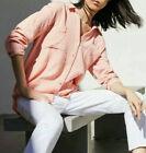 Eileen Fisher Organic Cotton lofty Gauze Classic Collar Shirt  SizeM Peach T4939