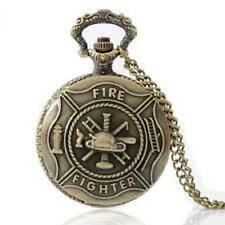 Firefighter Pocket Watch Antique Style Necklace Chain Quartz #Cc2 Free Shipping