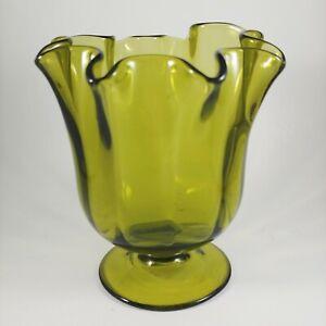 """vtg Olive Green Optic Glass Vase - HANDMADE Fluted / Ruffled Pedestal - 5.5"""""""