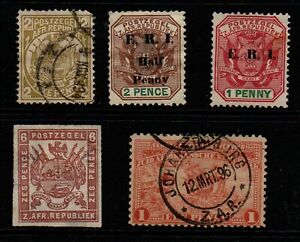 Transvaal selection of 5 mint & used.