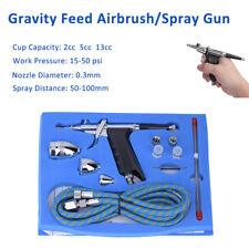 Dual Action Air Brush Kit Spray Gun Air Hose 0.3mm Needle for Tattoo Nail Beauty