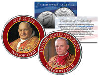 SAINTS Pope John XXIII & John Paul II DOUBLE CANONIZATION 2014 JFK Coin