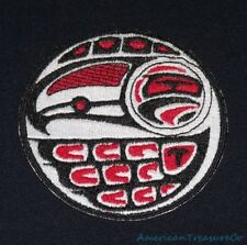 Embroidered Pacific Northwest Art Raven Bird Red & Black Circle Patch Iron On