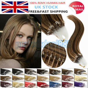 """14""""-26"""" Micro Loop Ring Nano Beads Indian Remy Human Hair Extensions 100s UK 1st"""