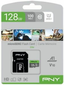 PNY 128GB MicroSD Micro SD Elite SDHC Card 100MB/s with SD adapter - UK Stock
