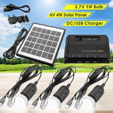 4W Solar Power Panel USB Charger Emergency LED Light ome System Kit Garden