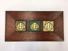 4x4 Triple w/ Dividers Sophie (Green, Golden, Dark Oak) Motawi Art Tiles Framed