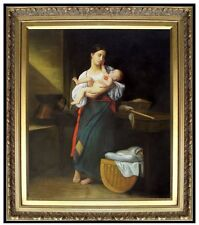 Framed Hand Painted Oil Painting Repro Bouguereau First Caresses 20x24in