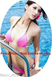 Fabulous Padded Bikini Set in Pink with Green Ties Small Medium Large Swimwear