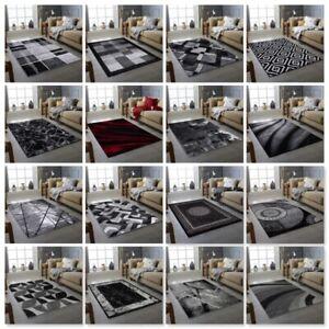 RUGS CITY MODERN DESIGN RUG BLACK GREY SOFT LARGE LIVING ROOM FLOOR BEDROOM  RUG
